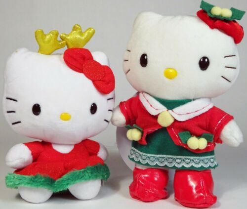 "Sanrio HELLO KITTY Lot of 2 CHRISTMAS Plush, 6"" TY & 7"" Nakajima, Stuffed Animal"