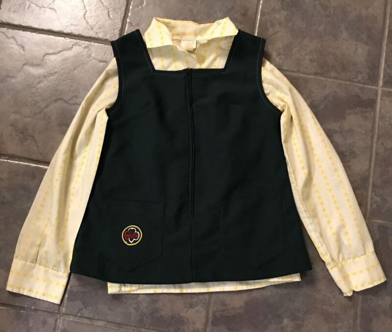 Vtg 1970s Cadette Size 12 Girl Scout Uniform Vest/Shirt