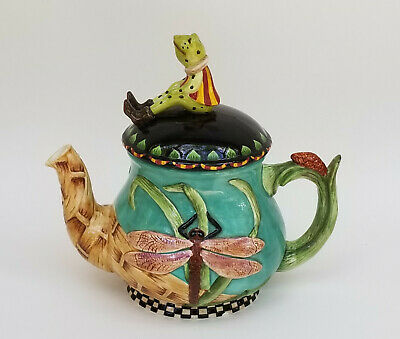PEGGY FAIRFAX HERRICK HOUSE OF HATTEN FROG and DRAGONFLY CERAMIC TEAPOT