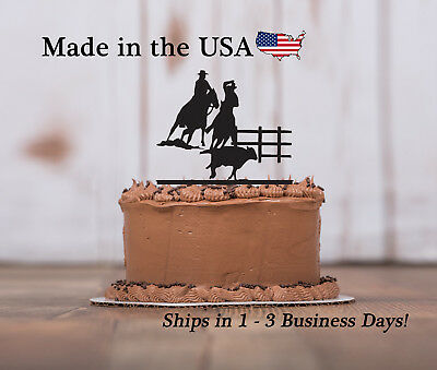 Penning Cake Topper, Rodeo, Cowboy, Birthday Party, Cow, Boy, Keepsake - LT1238 - Cowboy Birthday Cake