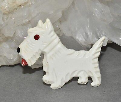 Vtg Celluloid Scottie Dog Pin Brooch Cute Scotty Early Plastic Mans Best Friend - Cute Bestfriend Costumes