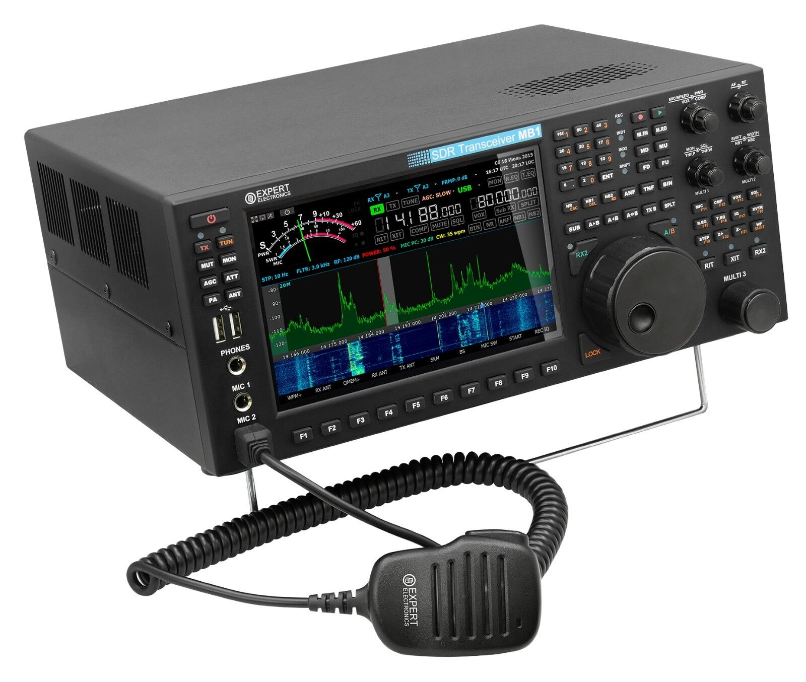 Expert Electronics MB1 HF 6M transceiver 100W, 50W 2M SDR with knobs
