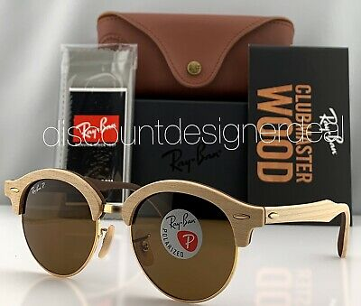 Ray-Ban RB4246M Clubround Wood Sunglasses 117957 Brown Gold Brown Polarized (Gold And Wood Sunglasses)