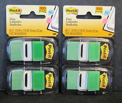 New Sealed 3m Post-it 680-gn2 Green 1 X 1.7 Flags Packs Of 100 200 Flags
