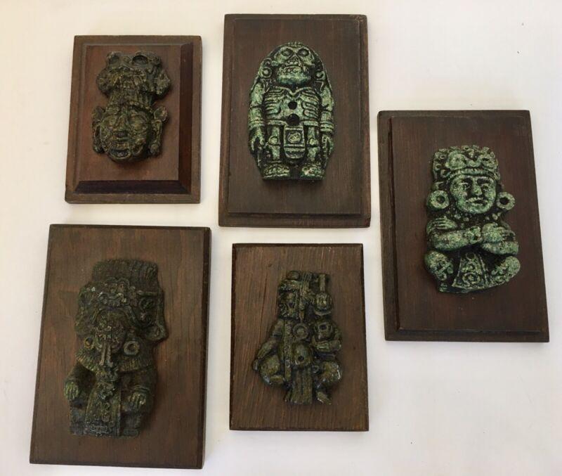 5 Mayan Aztec Inca Vintage DeityWall Plaques Crushed Malachite Mexican Folk Art