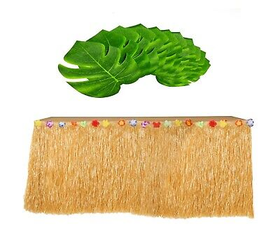 Hawaiian Luau Beach SET Grass Table Skirt & Monstera Palm Tropical Leaves - Hawaiian Grass Table Skirts