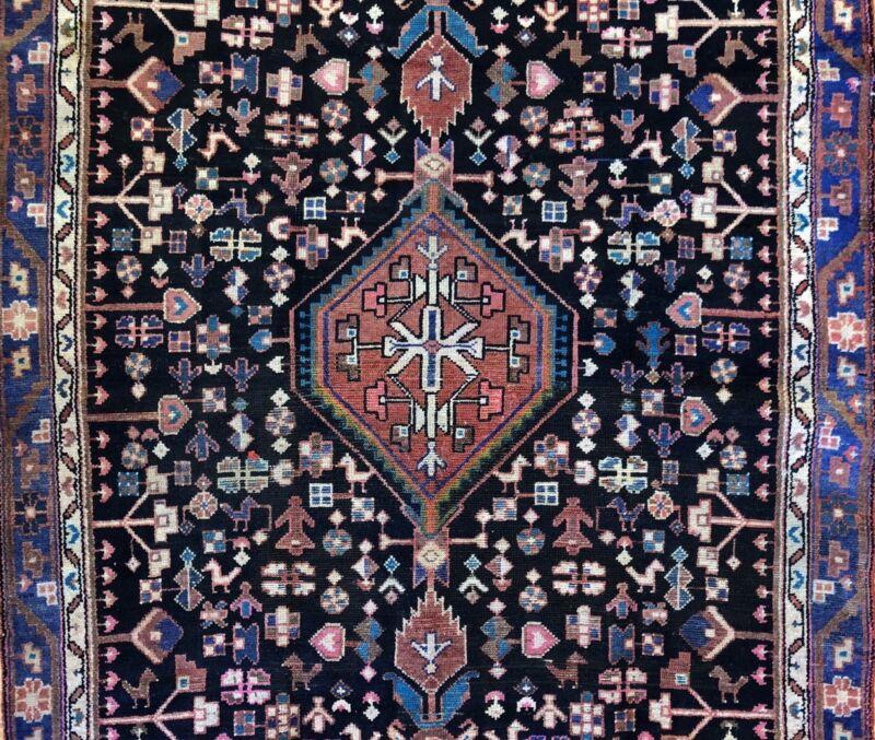 Handsome Hamadan - 1940s Antique Persian Rug - Tribal Carpet - 4 X 6.8 Ft.