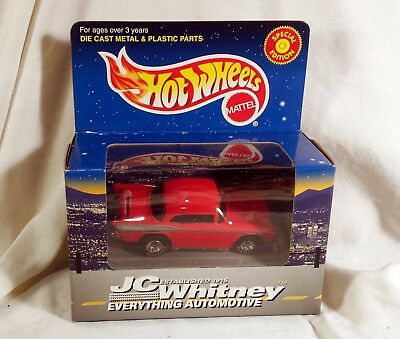 Hot Wheels Jc Whitney 57 Chevy In Red  Mint In Nice Box     Free Shipping