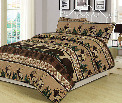 King, Queen, Twin Quilt Bed Set or Curtain Pair Bear Elk Log Cabin Lodge Rustic ()