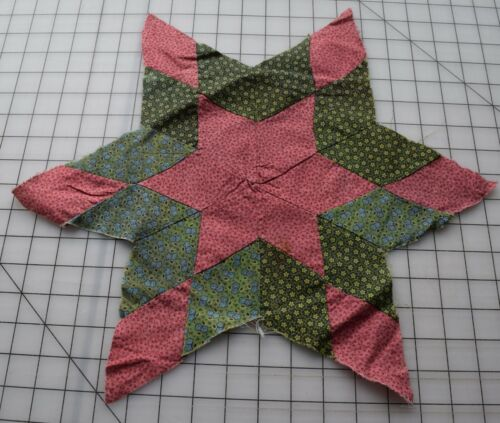8760 1 antique 1870-80s Star Quilt quilt block, Pink, green