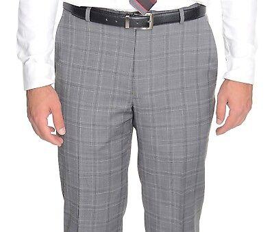 Plaid Wool Pants - $135 Alfani RED Gray Plaid Slim Fit Wool Blend Stretch Pre-hemmed Dress Pants