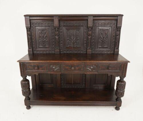 Antique Court Cupboard, Oak Sideboard, Carved Oak Buffet, Scotland 1790, B1391