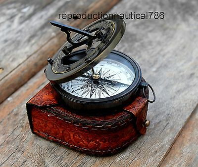 Handmade Antique Brass Working Compass With Leather Case Vintage Marine Compass