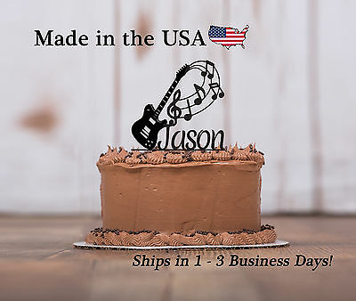 Guitar Music Cake Topper, Music Notes, Musician, Band Party, Keepsake - - Band Cake