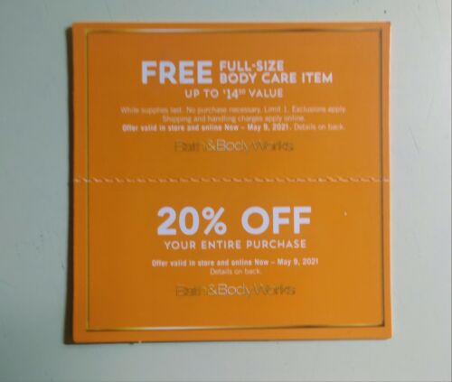 Bath Body Works Coupon - 20 Off Gift W Purchase Exp 05/09/2021 - $11.00