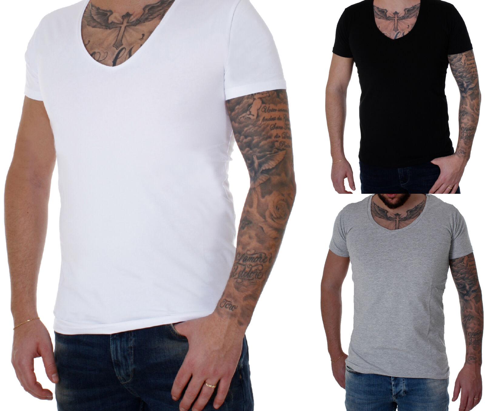 Young & Rich Herren T-Shirt Jungen V-Neck Basic kurzarm 1315 verschiedene Farben