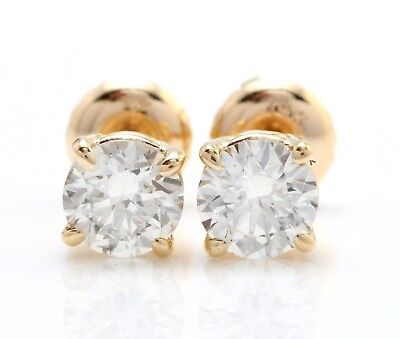1.00 Ct Natural SI2 Diamonds in 14K Solid Yellow Gold Screw Back Stud Earrings for sale  Los Angeles