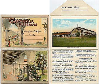 CALIFORNIA MISSIONS 1930s MULTI VIEW LETTERCARD...WESTERN PUBLISHING CHICAGO