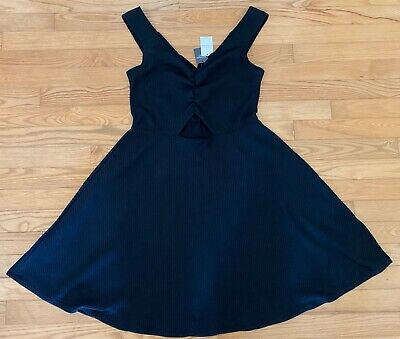NWT ABERCROMBIE & FITCH Off The Shoulder Cutout Ribbed Knit Dress Black XL