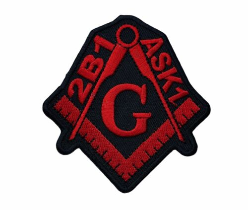 2B1 Ask1 Masonic Red Black 3 inch Square and Compass Patch IV4593 F6D4S