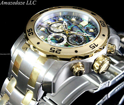 NEW Invicta Mens Scuba Pro Diver Stainless Steel Abalone Dial Chronograph Watch