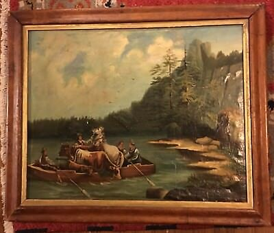 Beautiful 19th C Oil Canvas River Boat Landscape River Crossing Cows Horses