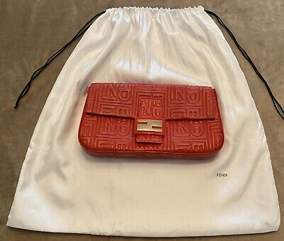 Authentic FENDI Red Embossed Calfskin Leather Baguette Satin Lining w/Dust-bag