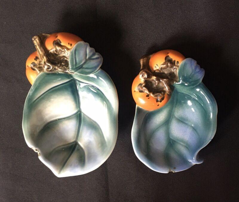RARE Antique Japanese Makuzu Kozan Persimmons Leaves Figural Dishes SIGNED