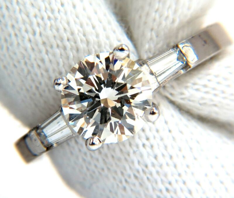 Gia 1.51ct. Round Brilliant Excellent Cut Diamond & .30ct Baguette Ring Platinum