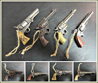 Western Gun Revolver Six Shooter Ornament Rustic Antique Finish Deco. Set of 4