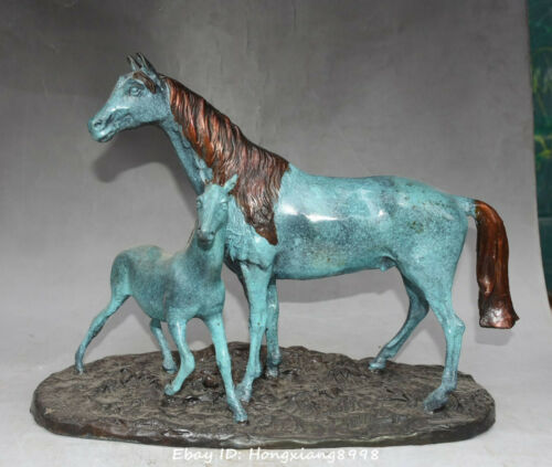 """17"""" Chinese Bronze Painting Fengshui 12 Zodiac Year Animal Horse Horses Statue"""