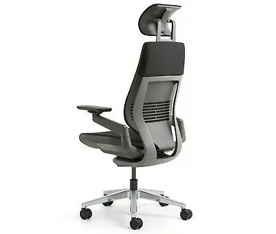 Used, Steelcase Aluminum Gesture Chair Lumbar Headrest Platinum Light Frame Graphite for sale  Poway