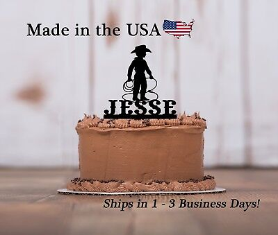 Little Cowboy Cake Topper, Boy's Birthday, Rodeo, Western Cake Keepsake - LT1277 - Cowboy Birthday Cake