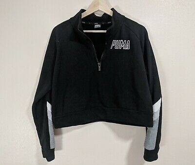 Puma Cropped Zipper Black, Grey & White Sports Sweater Top Size Small