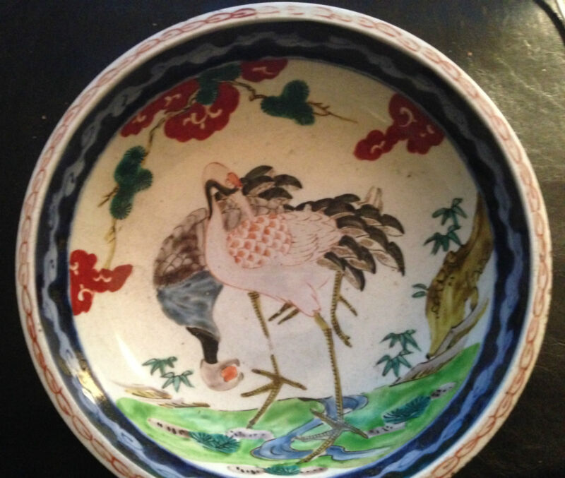 "18th CENTURY KANGXI IMARI BOWL with CRANES - 9"""