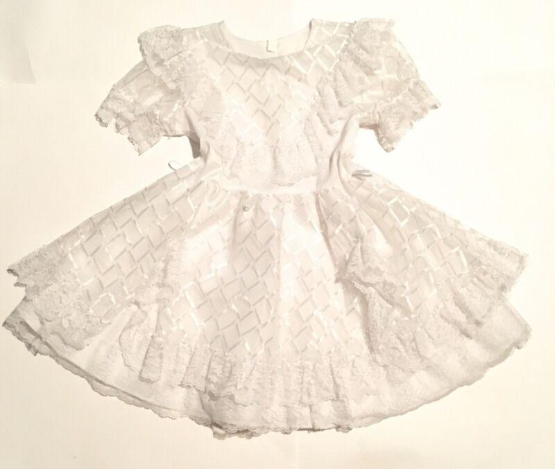 Vtg Little Girl Dress Lace Trim Ruffles Flare Sheer