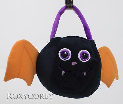 Halloween Purple Black & Orange Bat Trick or Treat Plush Bucket Tote - Halloween Buckets