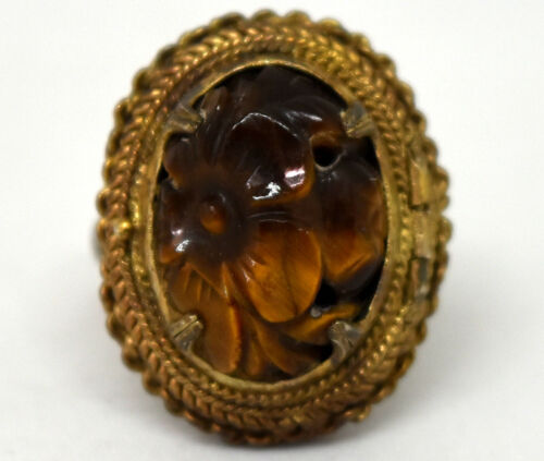 Chinese Silver and Tiger Eye Filigree Poison/Pill Ring Size 7(Adjustable)