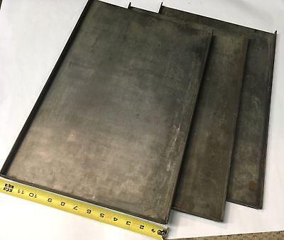 3 Vintage Printers Steel Type Galley 12 X 18 Letterpress Printing Antique