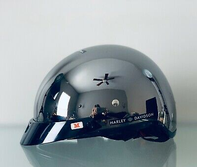 NIB Harley Davidson Half Helmet Mirror Black Chrome Size Medium W/ Dust Bag