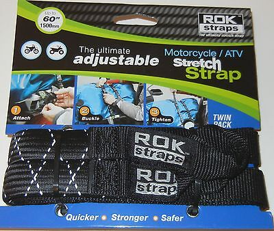 ROK Straps Motorcycle Adjustable luggage Tie Down Straps 2 pk Reflective BLACK
