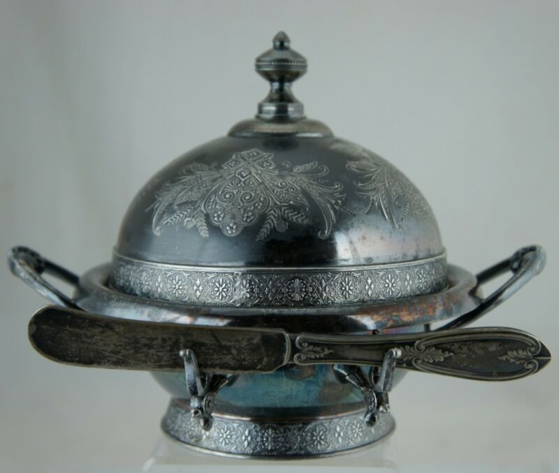 ANTIQUE SILVER QUADRUPLE PLATE AESTHETIC BUTTER DISH & BUTTER/SPREAD KNIFE