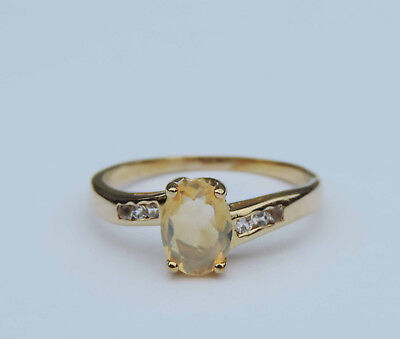 Ladies Genuine Oval Yellow Opal Gemstone Ring w/ 6 Sapphires - 14k Yellow Gold