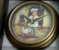 Plastic Decorative Wall Clock, 8, FAT CHEF WITH GOOSE, WINE PAIRING