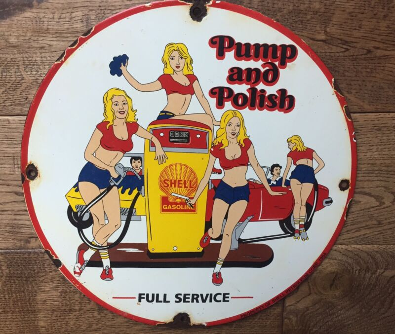 """Vintage Shell Gasoline 12"""" Heavy Pump Plate Sign"""