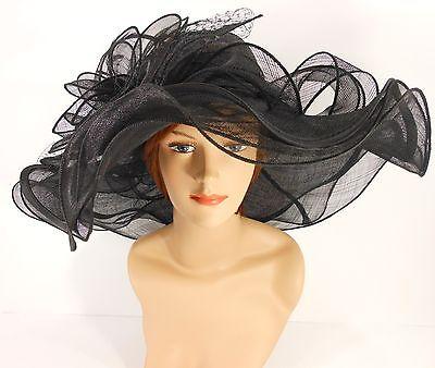New Woman Church Kentucky Derby Wedding Sinamay 3 Layers Dress Hat 3034 Black