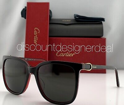 Cartier Cateye Sunglasses CT0004S 005 Black Frame Warm Gray Lens Gold Accents (Cartier Lenses)