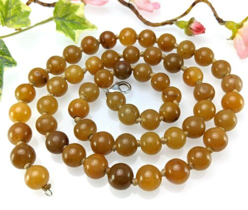 Vintage Long Golden Yellow Agate or Jade Bead Necklace, 925 Clasp, 29 Inch 75 cm