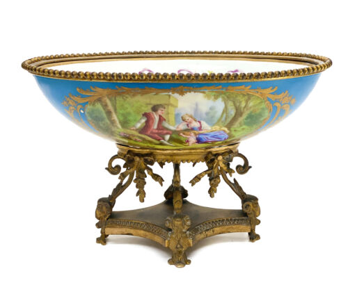 Sevres Style French Porcelain and Gilt Bronze Footed Oval Bowl, circa 1900