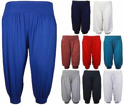 Plus Size Shorts (New Ladies Plus Size Baggy Shorts Womens Plain Cropped Harem Trouser Pants 12-26)